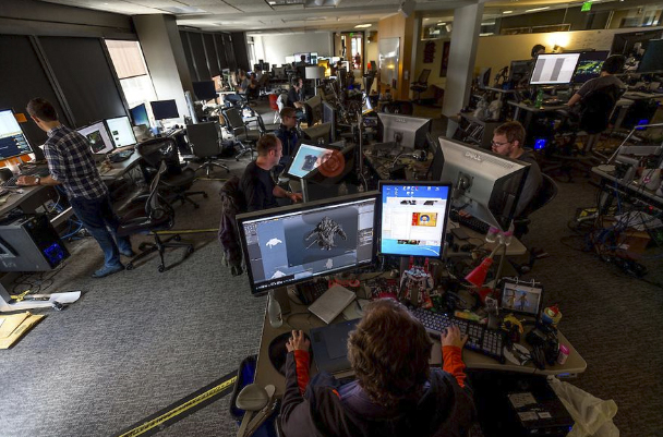 At the Valve offices, all of the desks are mobile and employees are encouraged to move frequently and with purpose. There are no bosses at Valve; everyone is on the same playing field. That flatland goes beyond the office; gamers have as much control over the company's product as the company.