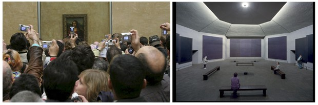 (Left) The Louvre gallery that houses Mona Lisa is notoriously crowded.   (Right) Houston's Rothko Chapel is a permanent display from a private collection, but an excellent demonstration of creating a contemplative space for audiences.